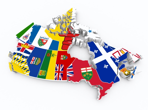 Map of Canada with Provincial Flags